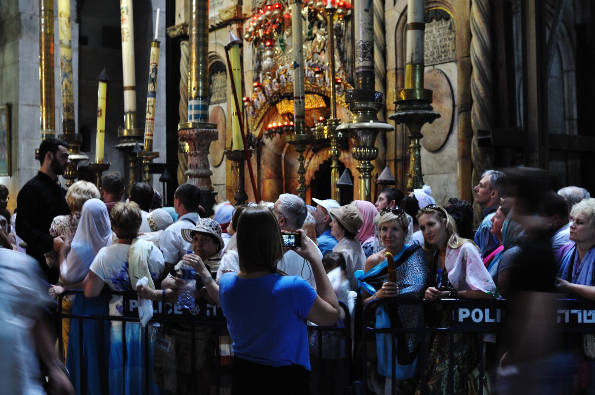 Pilgrims wait before entering the Chapel (the Edicule) where the tomb of Jesus is