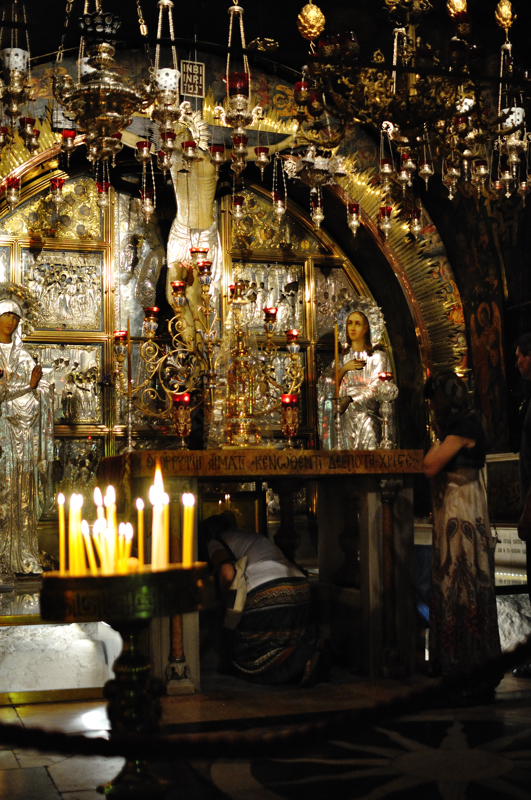 The Altar of the Crucifixion. There, according to the tradition, Jesus was crucified.