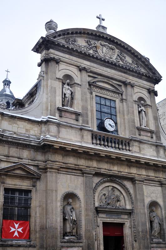 Marie de Médicis posé la 1ère pierre de cette église consacrée à Sainte-Elisabeth de Hongrie. Elle est désormais l'église des chevaliers de Malte.