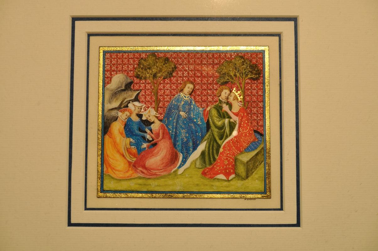 Lancelot et Guenièvre - Enluminure faite à main levée sur parchemin en agneau